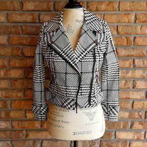 White House Black Market houndstooth moto jacket.